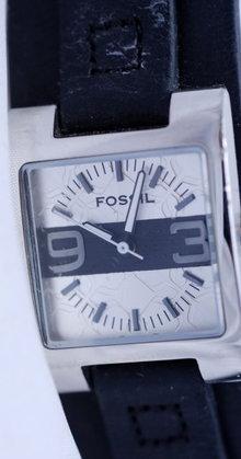 Fossil Watch Silver/Black Geometric pattern face