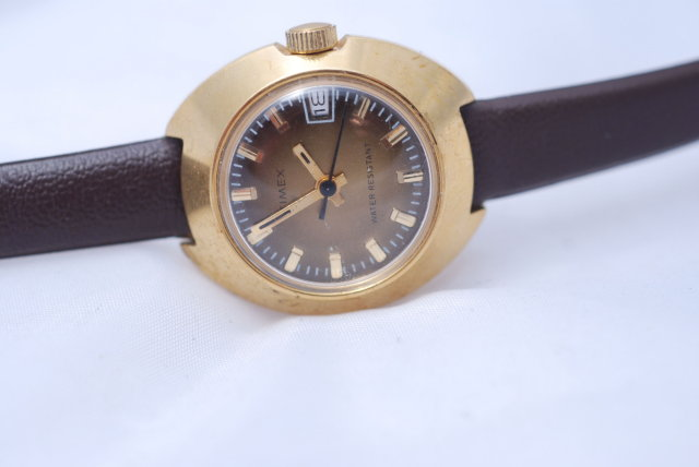 Eames Era Gold & Brown Timex  Watch WR Date Window