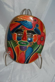 Mexican Folk Art Pottery Talavera  Hand Painted Pottery Mask