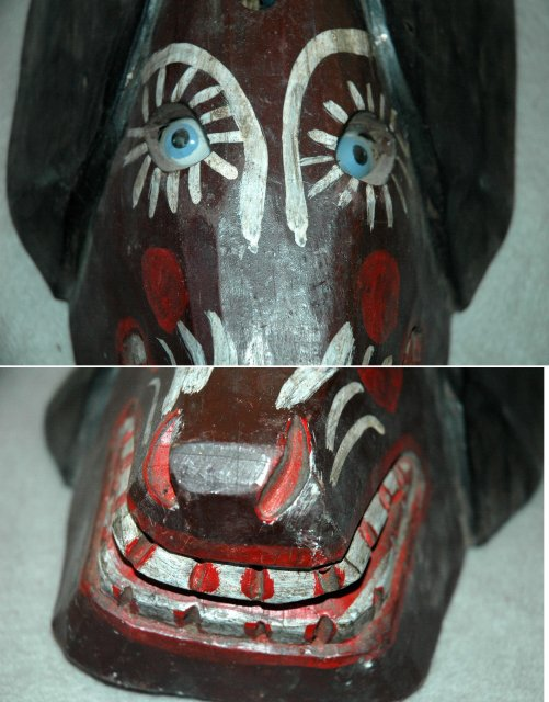 Guatemala Folk Art Guatemalan  Dog Mask Old Carved & Painted Wood Folk Art