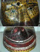 Guatemala Mask Smiley Jaguar  with glass eyes horse hair