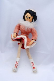 Hand Crafted Ice Skater Figure Skater  Bendible Doll  Leather & Wood