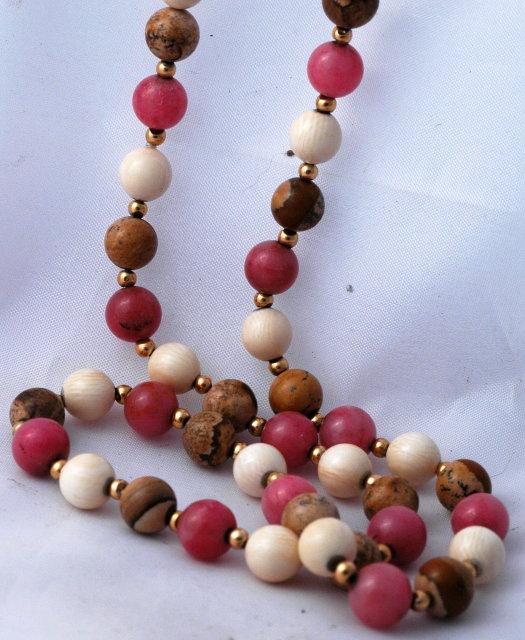 14K Gold Rhodochrosite, Ivory & Jasper Beaded