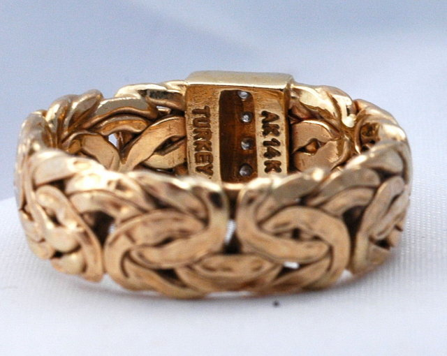 14K GOLD  Turkish Byzantine Ring with Diamonds  sz 10