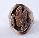 18k Gold Mystical Peruvian  Ring, Signed