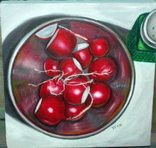 Bowl of Radishes Oil Painting on Board Signed V. Vienini  *PRICE REDUCED! *