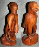 Folk Art Carved Teak  Wood Parrot  Stylized Anthropomorphic