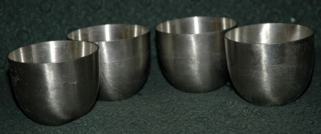 4 Old Stieff Pewter Jefferson Cups 3