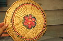 Large Coiled Grass Basket Platter Old  Mexican
