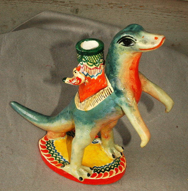 Old Mexican Folk Art Plaster Standing Lizard Candle Stick Holder * PRICE REDUCTION!*