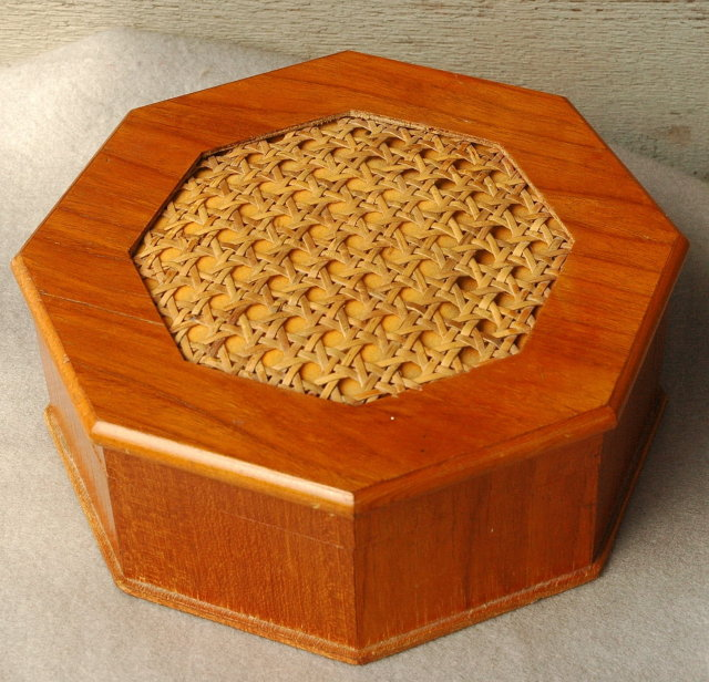 Teak  Octagonal Trinket  Jewelry Box with Caned Top * PRICE REDUCTION!*