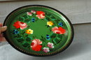 TOLE  PAINTED METAL TRAY TOLEWARE SIGNED   12