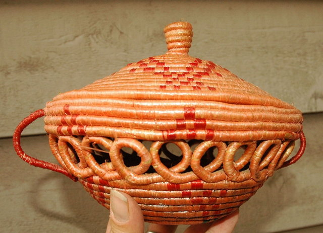 Native Eskimo  Coiled Open Work Basket with Lid   *PRICE REDUCTION!*