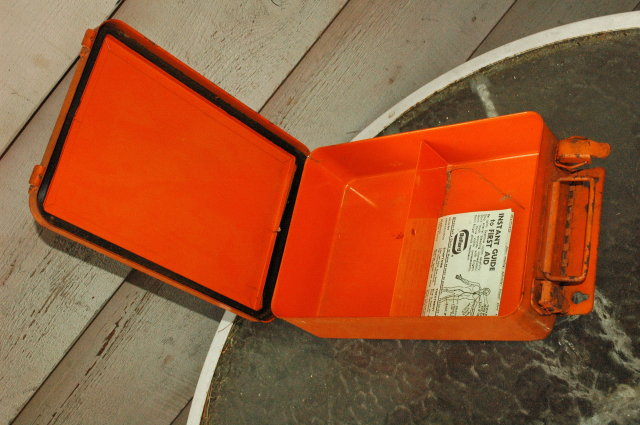 Metal First Aid Box Old Orange Industrial Wall Mount