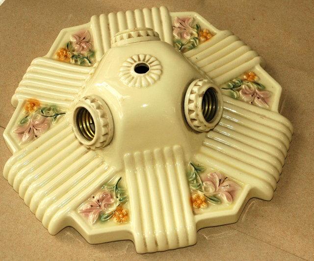 ANTIQUE Light Fixture Porcelain Ceiling 3 -way electric Fixture   *PRICE REDUCTION!*