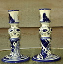 Mexican Talavera Candle Stick Holders Blue/ White  PAIR