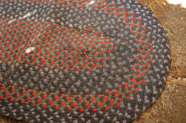 Braided Rag Rug vintage oval 56