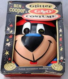 Vintage Halloween Yogi Bear Costume, Ben Cooper Gltter Glo  Brand