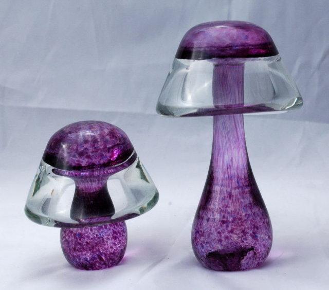 2 Purple Glass Mushrooms **PRICE REDUCTION**!!