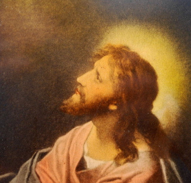 Antique Print  CHRIST IN THE GETHSEMANE by Hoffman in  old Pie Crust Frame *PRICED REDUCED!*