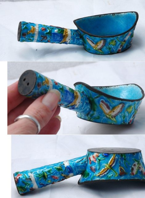 Cloisonne Dipper Qing Dynasty 1900's   Birds & Flowers in Repousee  *** PRICE REDUCED!***