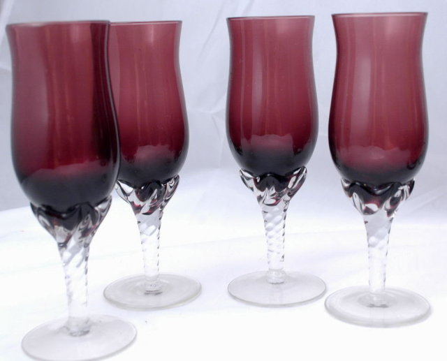 set of 4 cordials stem glassess amethyst and clear