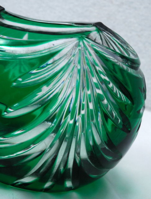 Cut to Clear Green Crystal Glass Vase