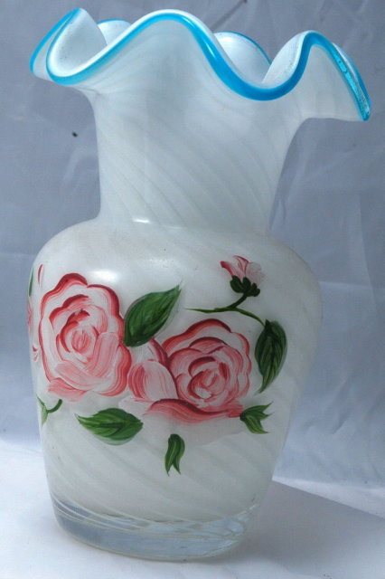 FENTON  SWIRLED Cased Glass BLUE CREST RUFFLE  Vase with Hand painted  Roses