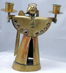 SALVADOR TERAN  Hand Wrought Brass Angel Candle Holder  Old Mexican Modernist Art