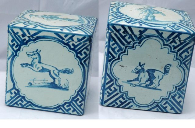 Old Tin Hunting theme blue white with hinged lid