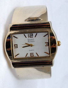 Fat Hinged Cuff  Bracelet  Quartz Watch by Saint James