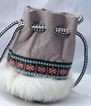 Alaskan Native American Drawstring Bag or  Pouch  Leather & Fur