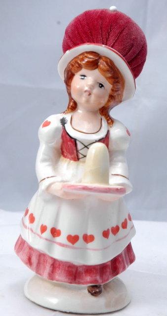 Ceramic Pin Cushion Thimble Holder Doll