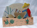 Old Mexican Folk Art Painted Wood Napkin Holder