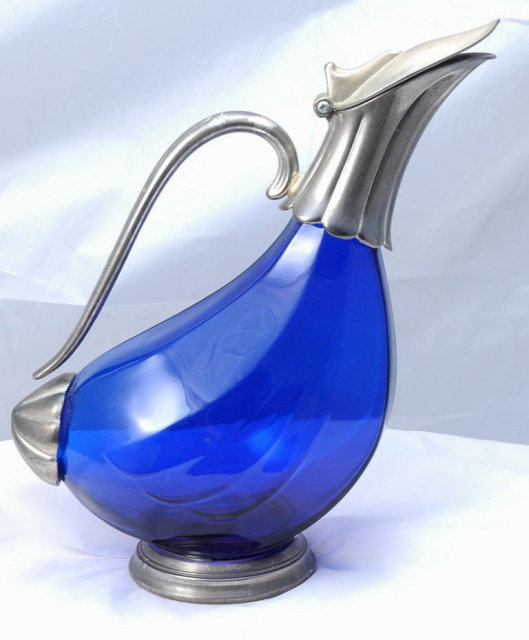 Cobalt Blue  Glass Duck  Wine Decanter
