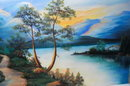 Rich Pastel Landscape Painting Cottage, River, Mountains Signed