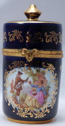 Limoges - Veritable Porcelain D'Art Cylinder Container or Trinket Box  Classical Garden Design
