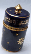 Limoges - Veritable Porcelain D'Art Cylinder Container or Trinket Box  Classical Garden Design