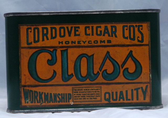 Old Cordove Cigar  Tin  Peacock graphic