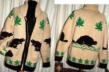 Beaver Cowichan Wool  Cardigan Sweater Hand Knit  -Canadian