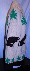 Beaver Cowichan Wool  Cardigan Sweater Hand Knit  -Canadian