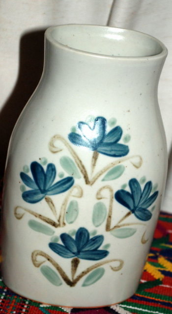 UCTCI Japan Stoneware Milk Bottle Style Vase Hand painted