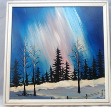 Aurora Borialis Signed Oil Painting ,