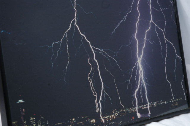 Lightning over Seattle Photograph Signed  & Framed Behind Glass