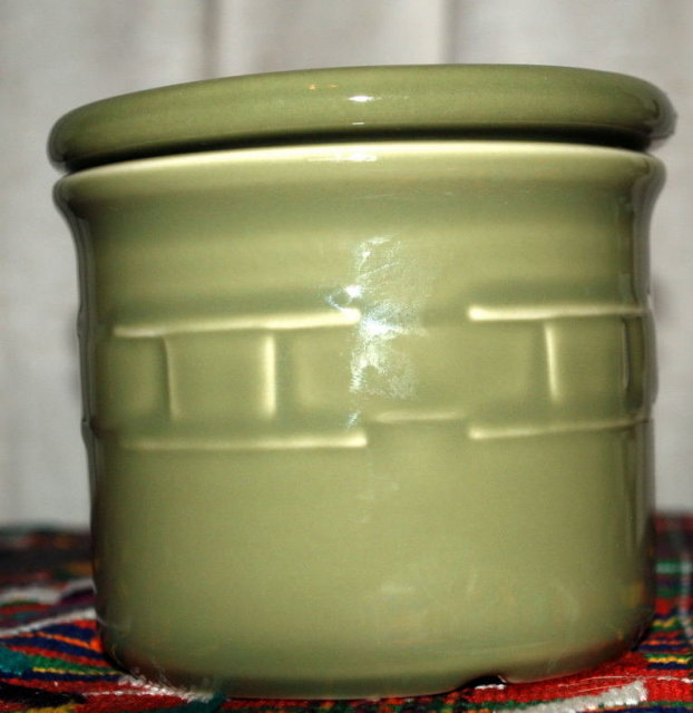 Longaberger Porcelain  Pottery Crock Storage Container with Lid