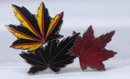 Old Mexican Guilloche Enamel  Antique Sterling Maple Leaves Pin Brooch ( multi colored)