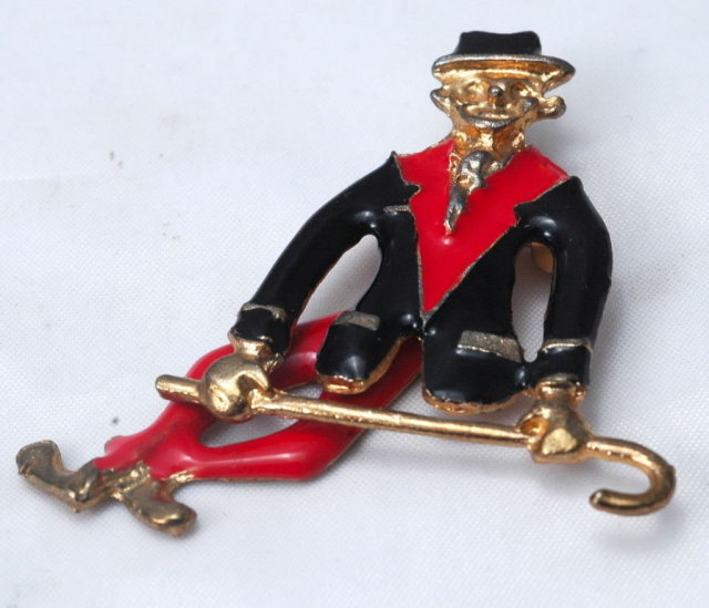 Articulated Dancing Man with Cane Pin Pendant with black & red enameling