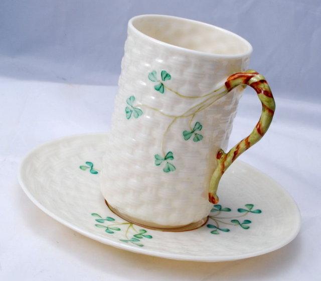 Belleek Irish Porcelian   RARE ! Chocolate Mug Cup & Saucer Twig Handled Shamrock Basketweave