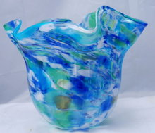 Large Hand Blown Glass Bowl Vase Trish Knowles  signed art glass  piece