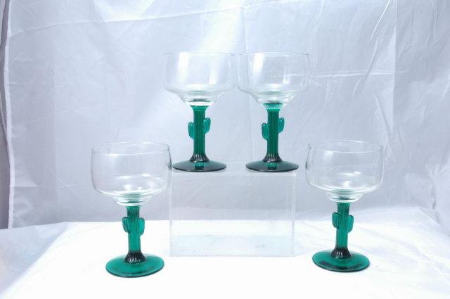 4  Cactus Margarita Glasses  Stemware